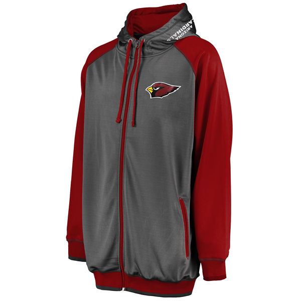 c73ca413 Arizona Cardinals Majestic Big & Tall Raglan Full-Zip Hoodie - Charcoal