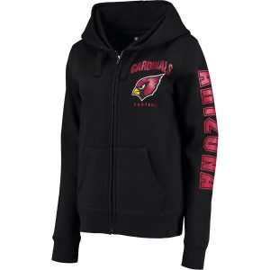 Arizona Cardinals New Era Women's Glitter Sleeve Full-Zip Hoodie – Black