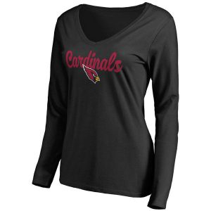 Women's Arizona Cardinals Pro Line Black Freehand V-Neck Long Sleeve T-Shirt